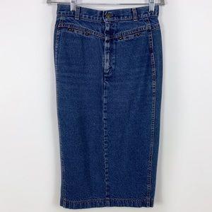 Vintage Levi's Midi Hi Rise Denim Jean Skirt